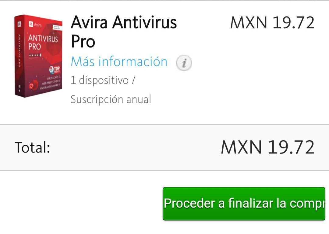 1 año de suscripción a Avira Antivirus Pro