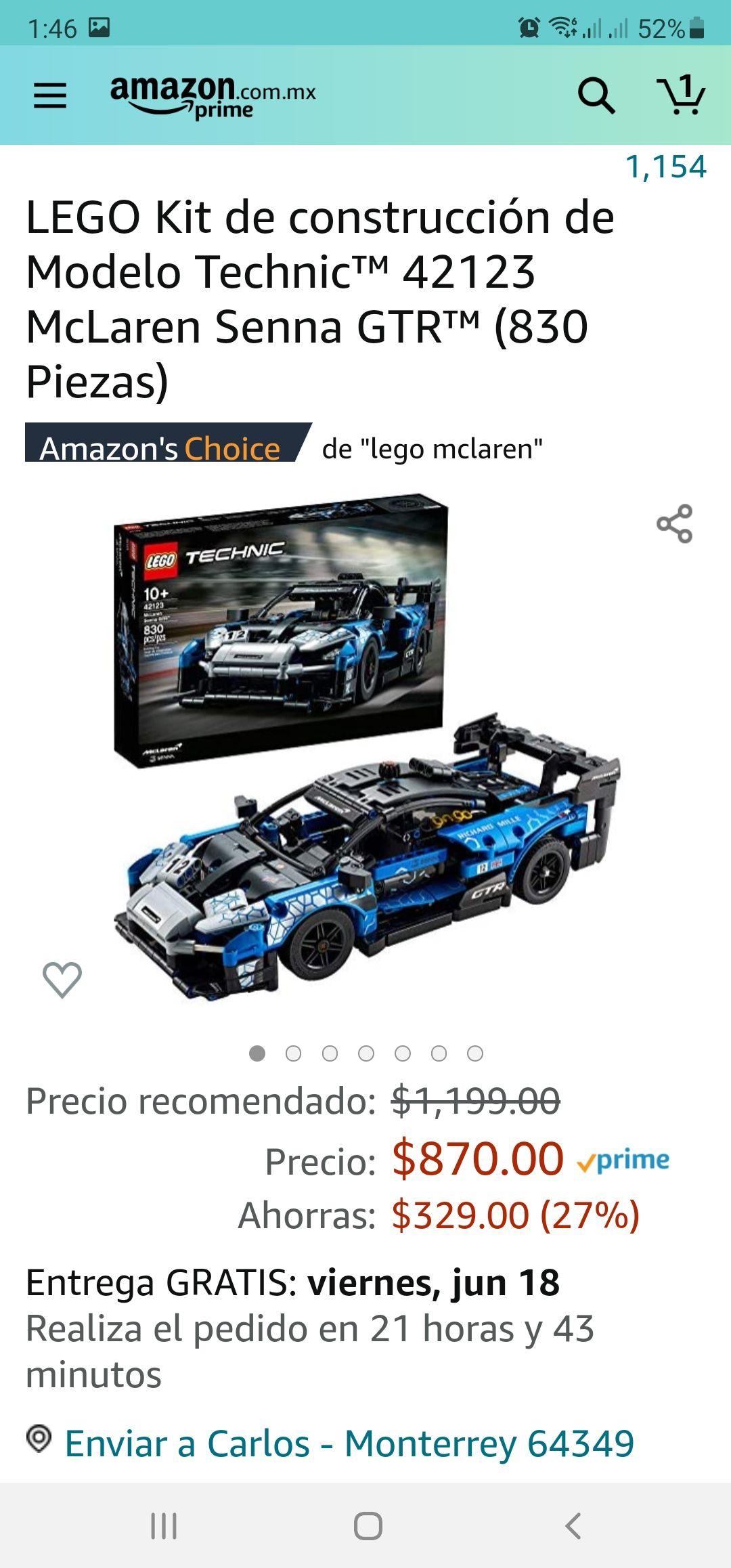 Amazon LEGO Kit de construcción de Modelo Technic™ 42123 McLaren Senna GTR™ (830 Piezas)