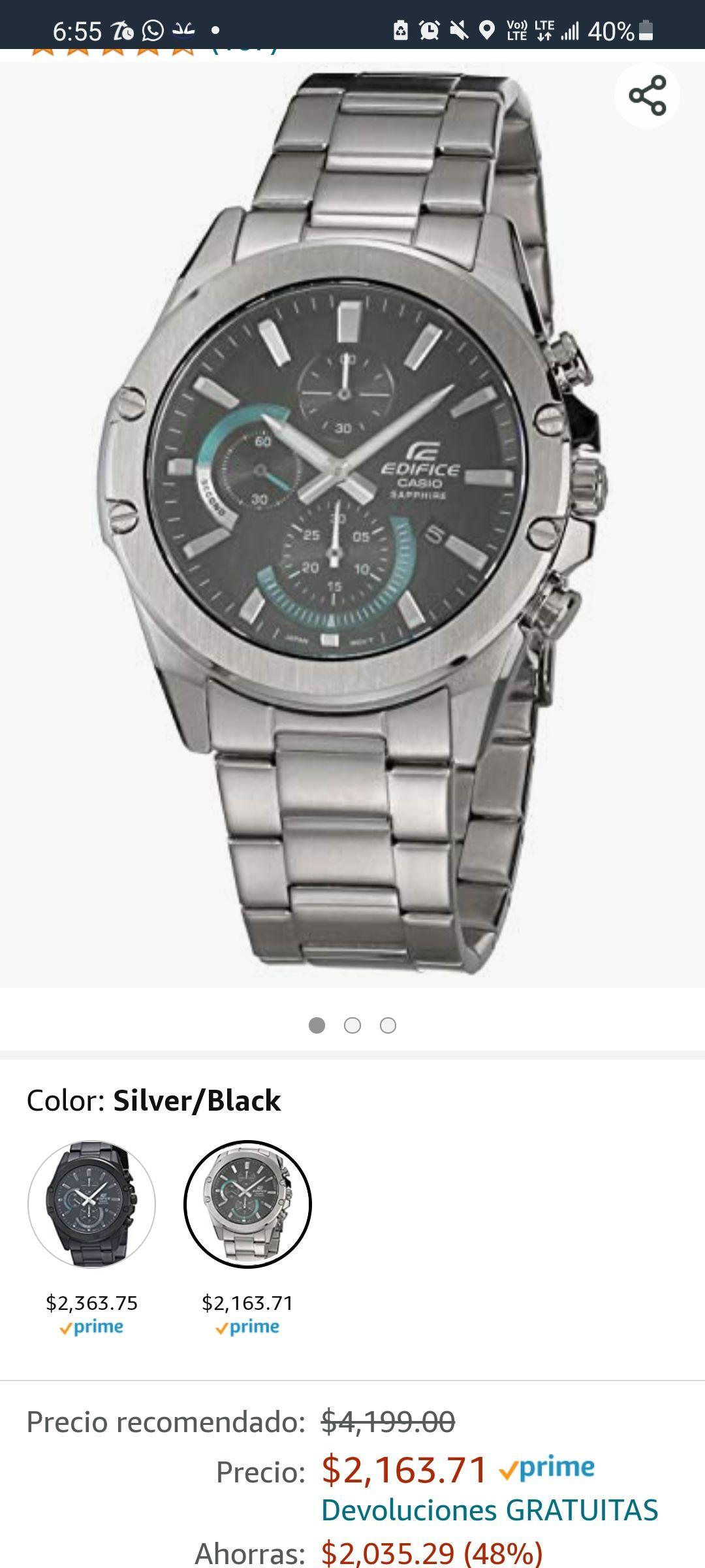 Amazon: reloj Casio Edifice Sapphire