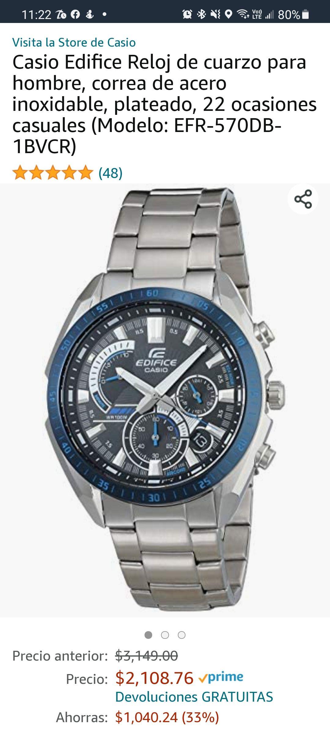 Amazon: Casio Edifice Reloj de cuarzo para hombre, correa de acero inoxidable, plateado