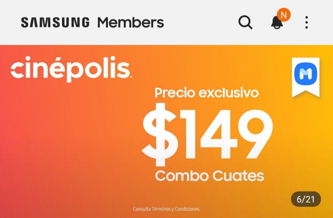 Samsung members: Combo cuates cinépolis $149
