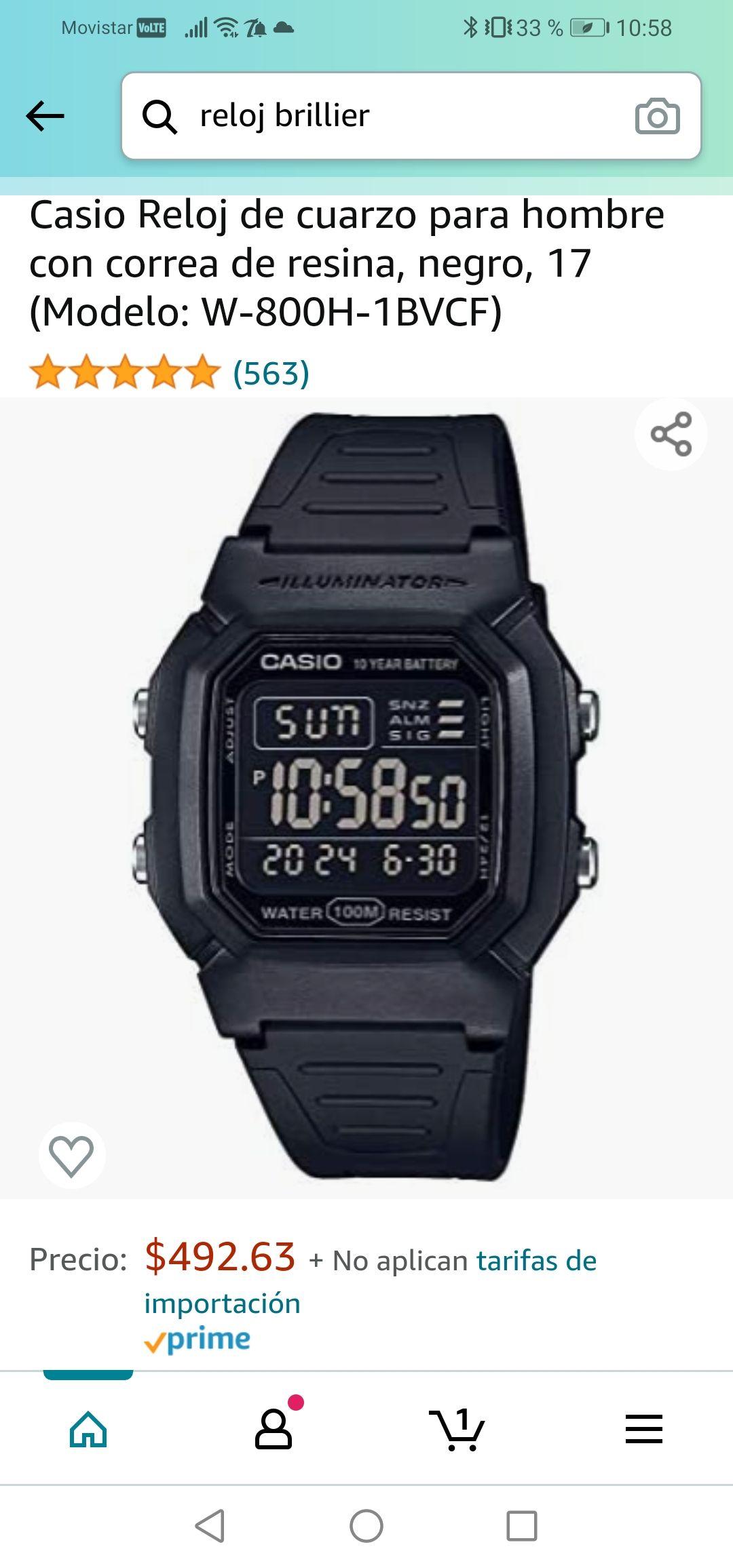 Amazon: Casio Reloj de cuarzo para hombre con correa de resina, negro, 17 (Modelo: W-800H-1BVCF