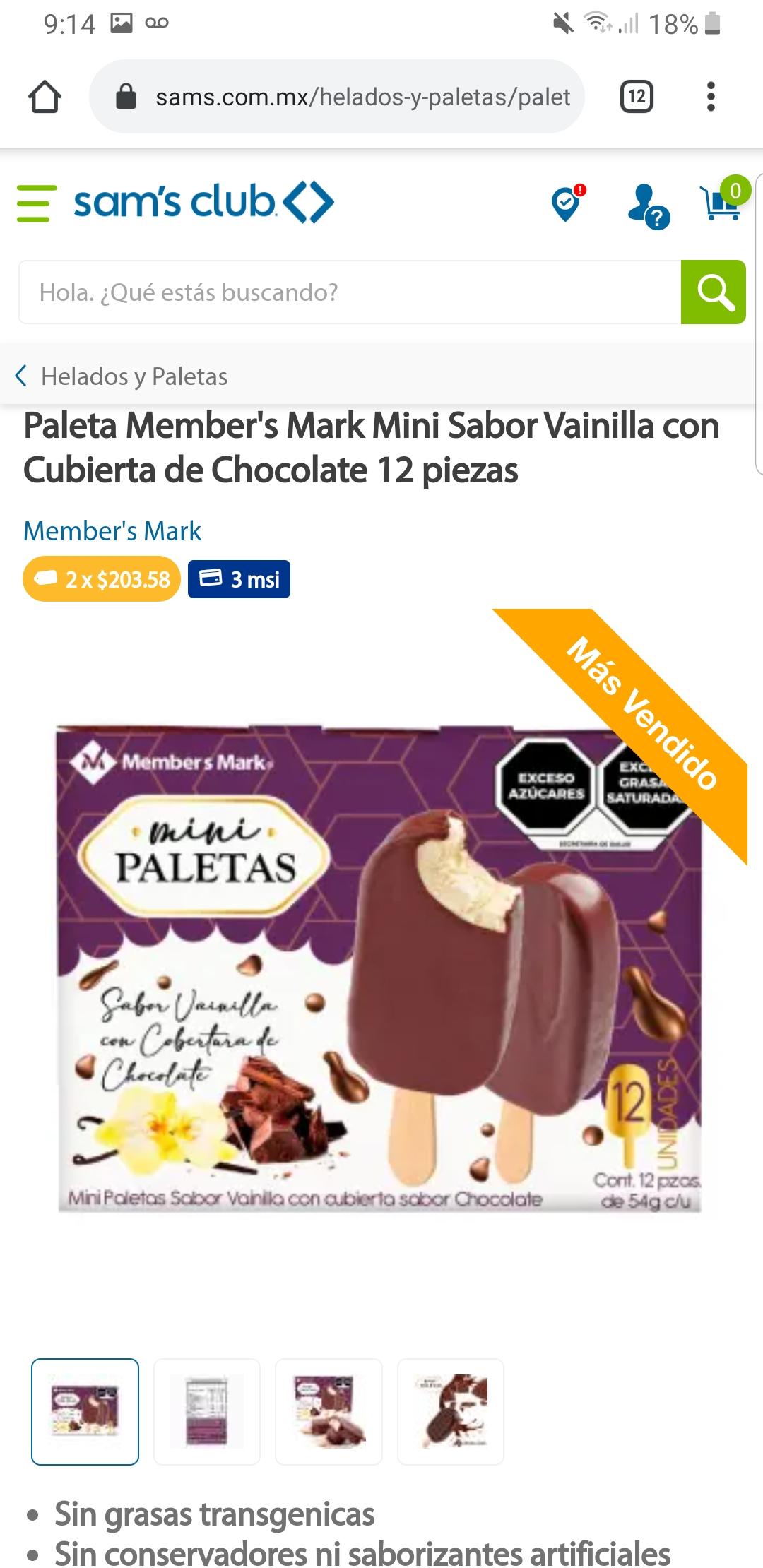 Sam's Club: Mini Paletas Vainilla con Chocolate 24 piezas x $203.58