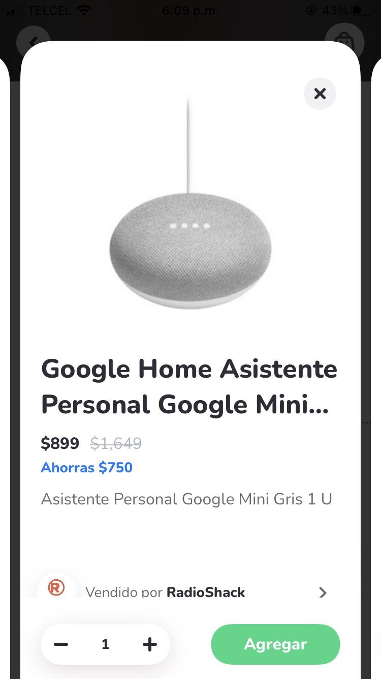 Google home mini descuento con Rappi