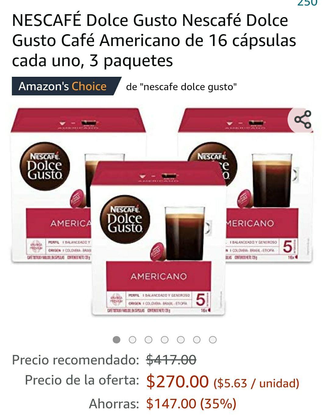 Amazon: Dolce gusto 3 cajas americano (con prime)