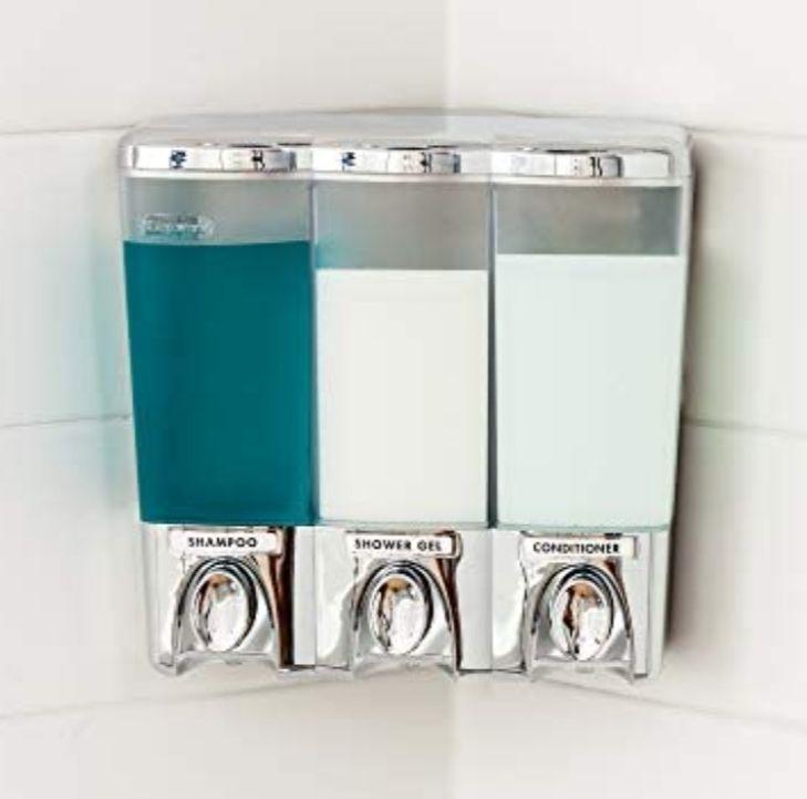Amazon: Better Living Products Clear Choice Dispenser Dispensador de Ducha, Cromado, 3 Compartimentos, 1, 1