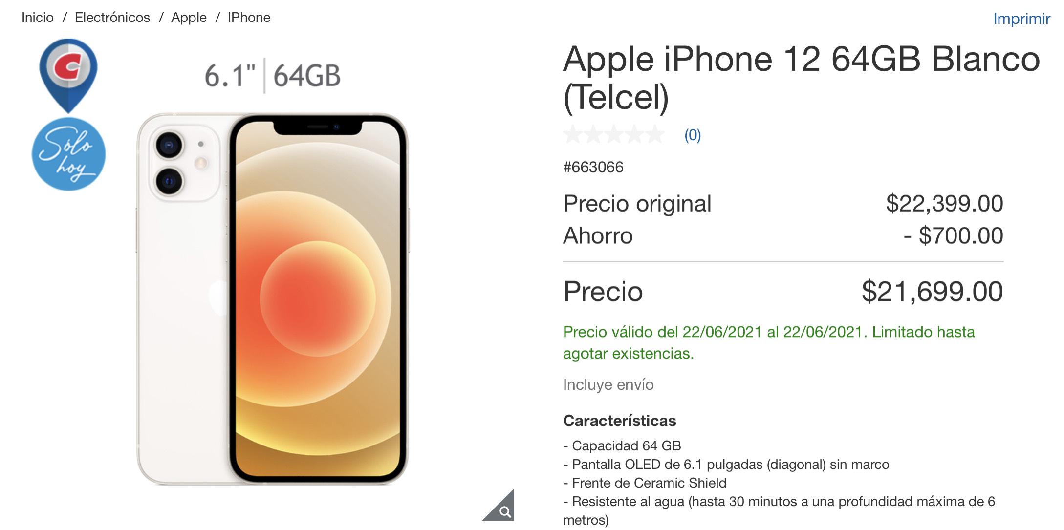 Costco: iPhone 12 64 GB a un excelente precio
