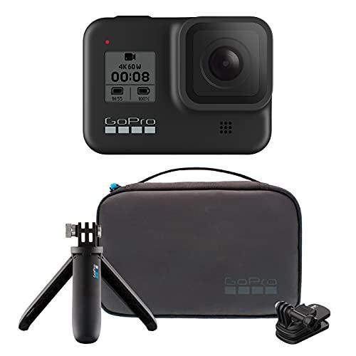 Amazon GoPro HERO8 Black Bundle - Cámara HERO8 Black + Travel Kit (Estuche de viaje + Shorty + Clip giratorio magnético)