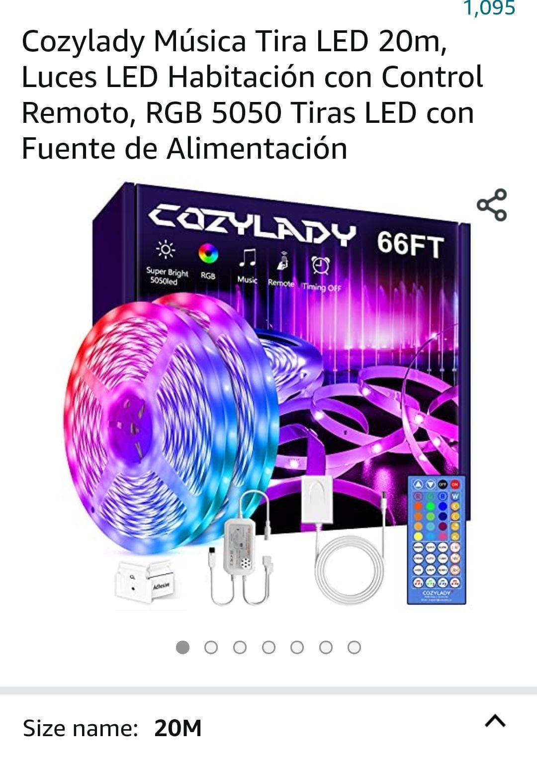 Amazon Cozylady Música Tira LED 20m, Luces LED Habitación con Control Remoto, RGB 5050 Tiras LED