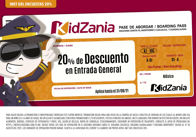 20% de descuento en entradas para Kidzania Al contestar la encuesta