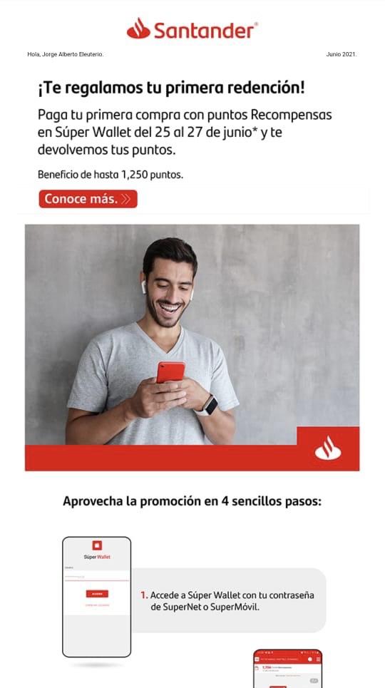 Santander: Santander te regala tu primera compra con puntos desde SuperWallet, y te hace la redención con puntos
