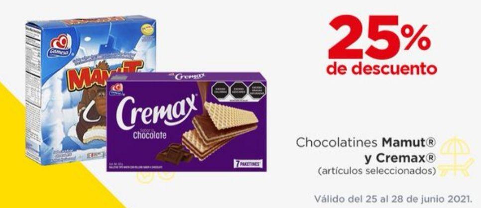 Chedraui: 25% de descuento de Chocolatines, Mamut y Cremax seleccionados