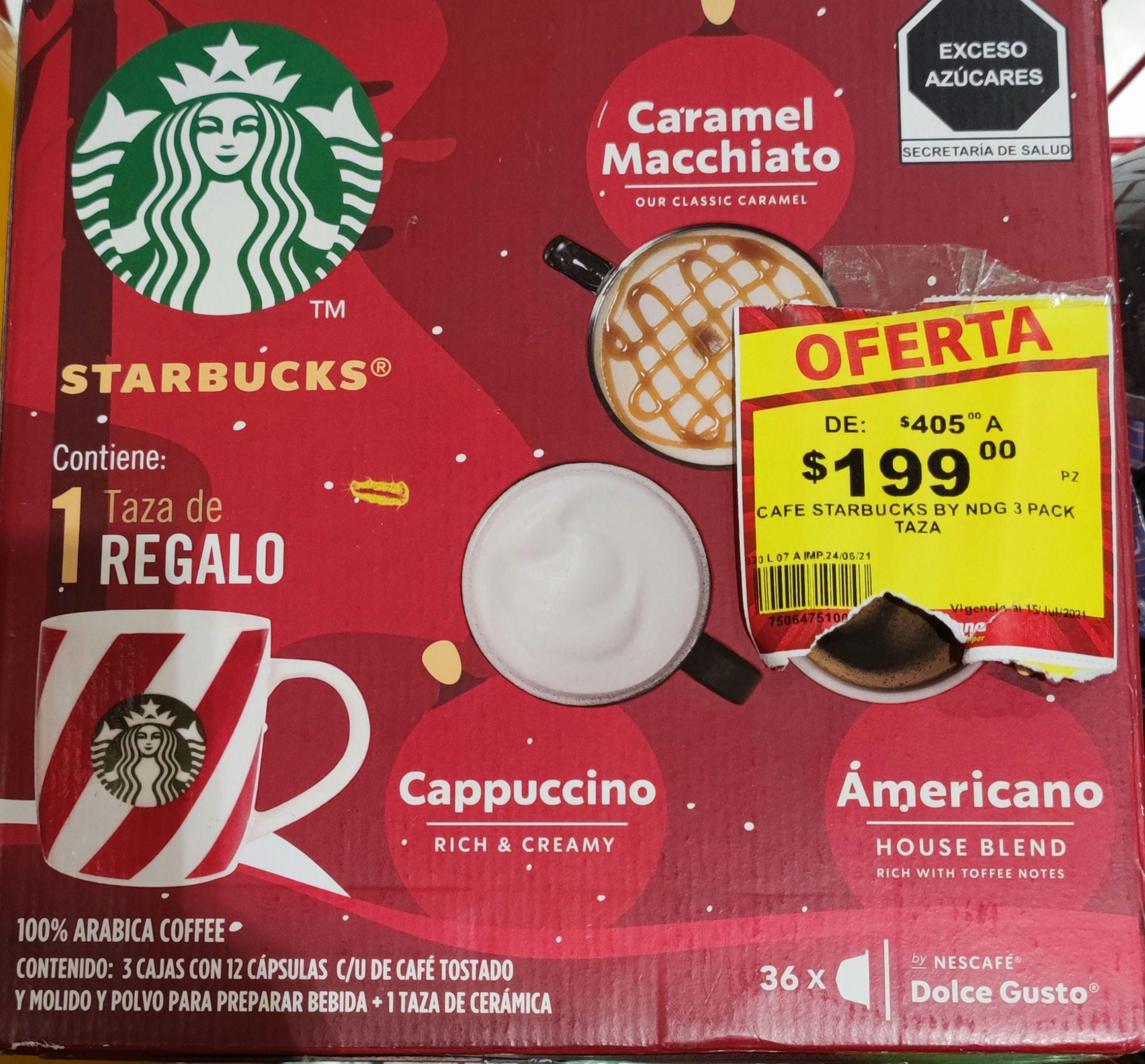 Soriana: Pack Navideño Starbucks Dolce Gusto 3 cajas y una taza decorativa