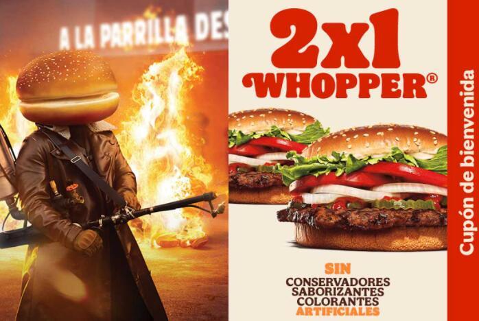 Burger King: 2 hamburguesas Whopper sin queso por $85 pesos