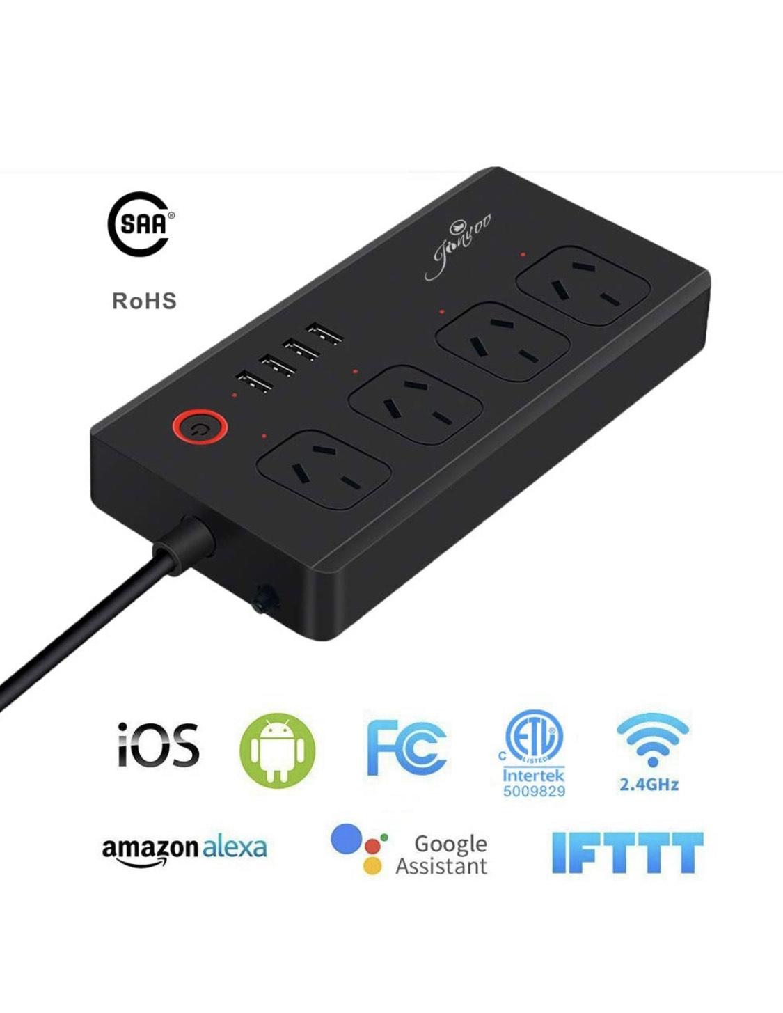 Amazon: Multicontacto WIFI Jinvoo 4 enchufes y 4 USB funciona con Alexa