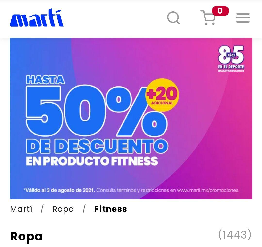 Martí, 50+20% de descuento en producto fitness