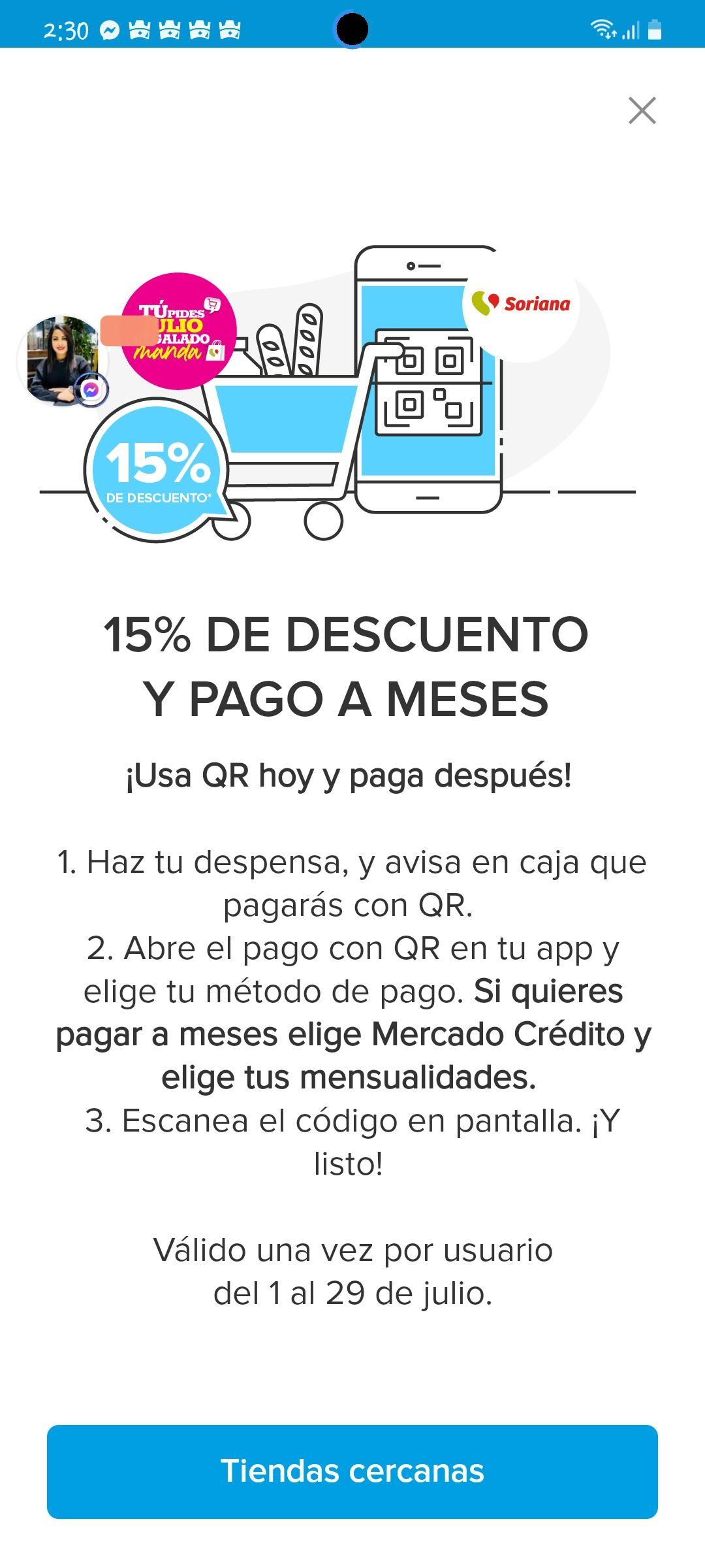 Mercado Pago: 15% de Descuento en Soriana al pagar con QR