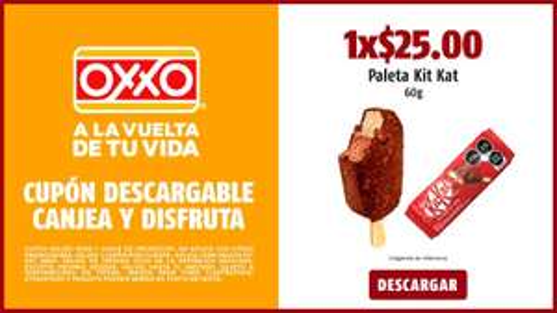 Oxxo $25 Paleta Kit Kat 60gr