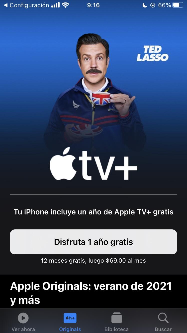 Apple TV+ gratis por 1 año