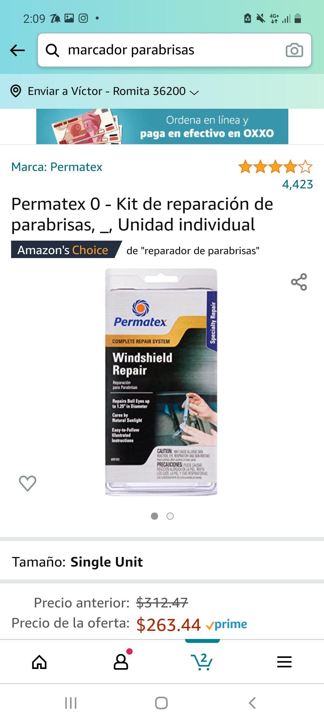 Amazon : Kit de reparacion de parabrisas