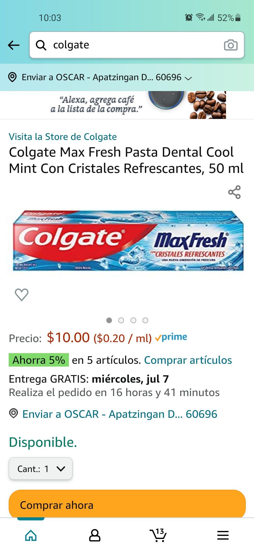 Amazon: Pasta Colgate Max Fresh Cool Mint Con Cristales Refrescantes, 50 ml