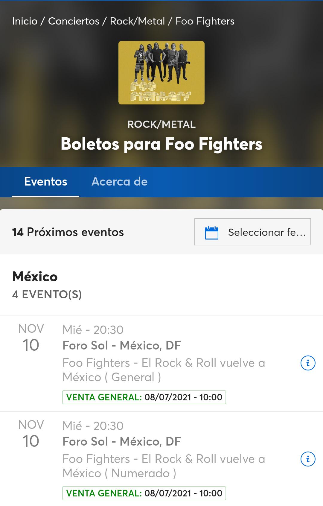 Ticketmaster: Foo Fighters código preventa fans