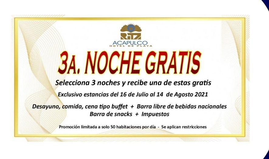Hotel Ritz Acapulco: Tercera noche gratis (2 adultos)