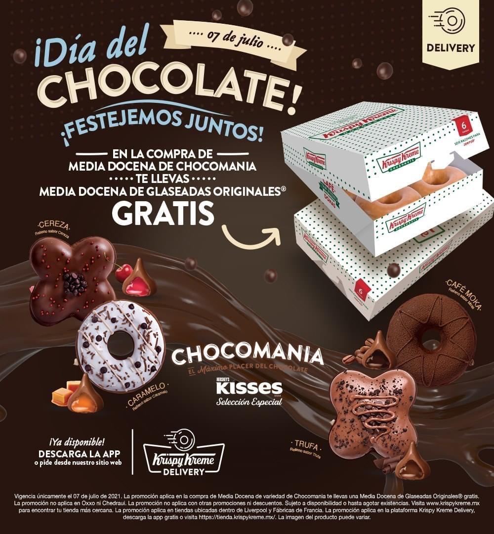 KRISPY KREME: Día del chocolate media docena de original GRATIS al comprar media docena de chocomanía