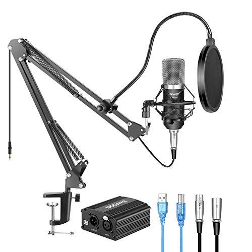 Amazon: Neewer NW-700 Kit de Micrófono de Condensador con Fuente de Alimentación Fantasma USB 48V