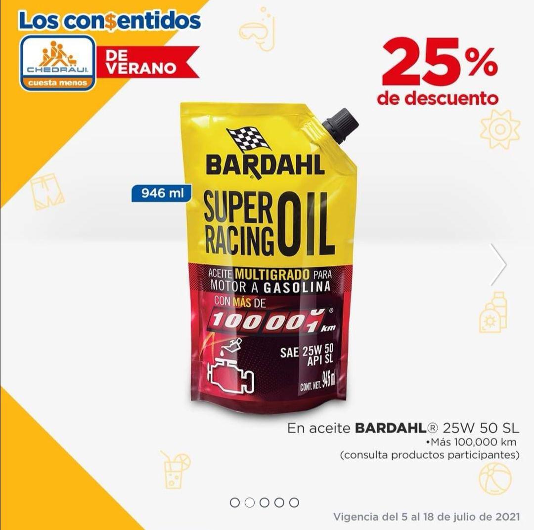 Chedraui: 25% de descuento en Aceite Bardahl más de 100 000 KM, 25W 50 SL, 946 Ml.