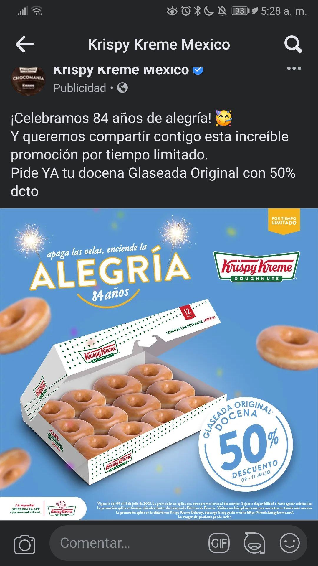 Krispy kreme - 50% Docena de Donas glaseado original