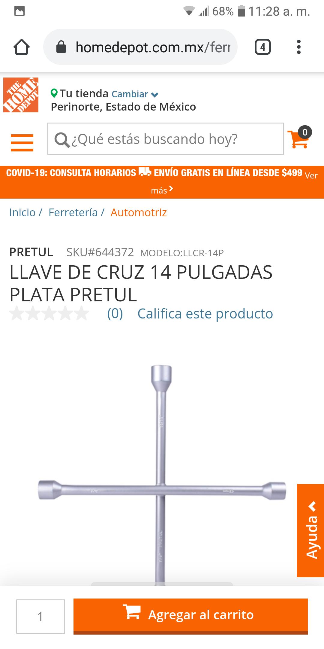 Home Depot, LLAVE DE CRUZ 14 PULGADAS PLATA PRETUL