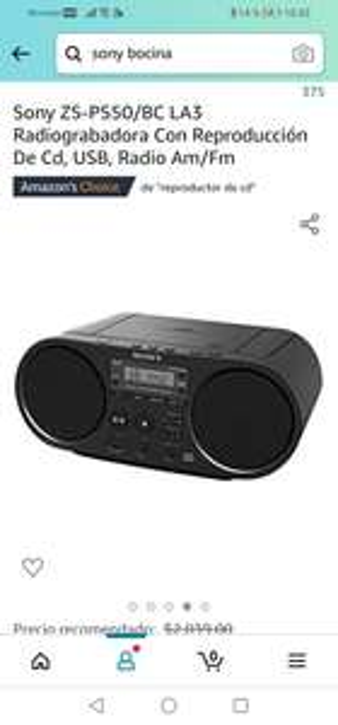 Amazon : Sony ZS-PS50/BC LA3 Radiograbadora Con Reproducción De Cd, USB, Radio Am/Fm
