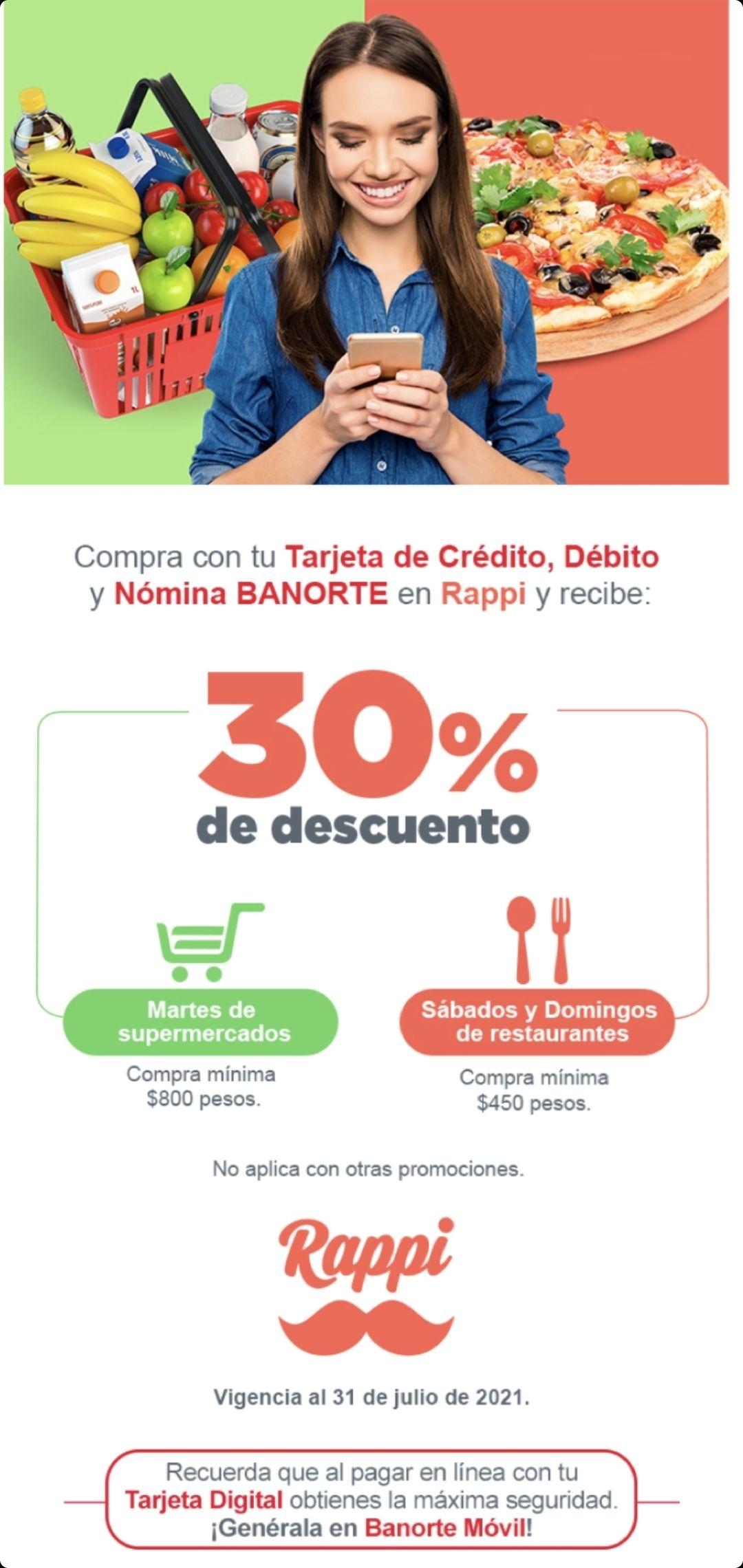 Banorte y Rappi: 30% de Descuento