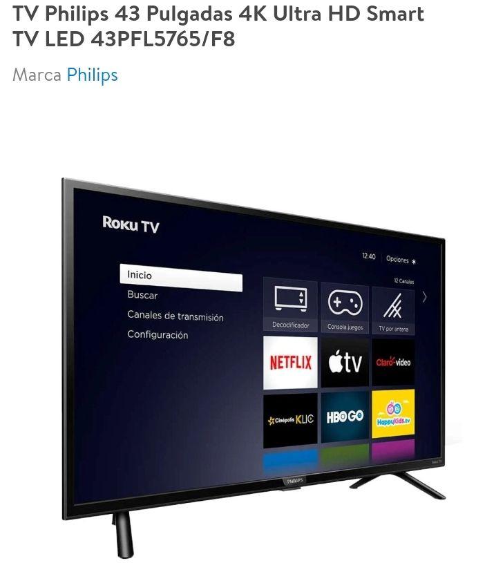 Walmart Roku Philips 43 Pulgadas 4K Ultra HD con BBVA