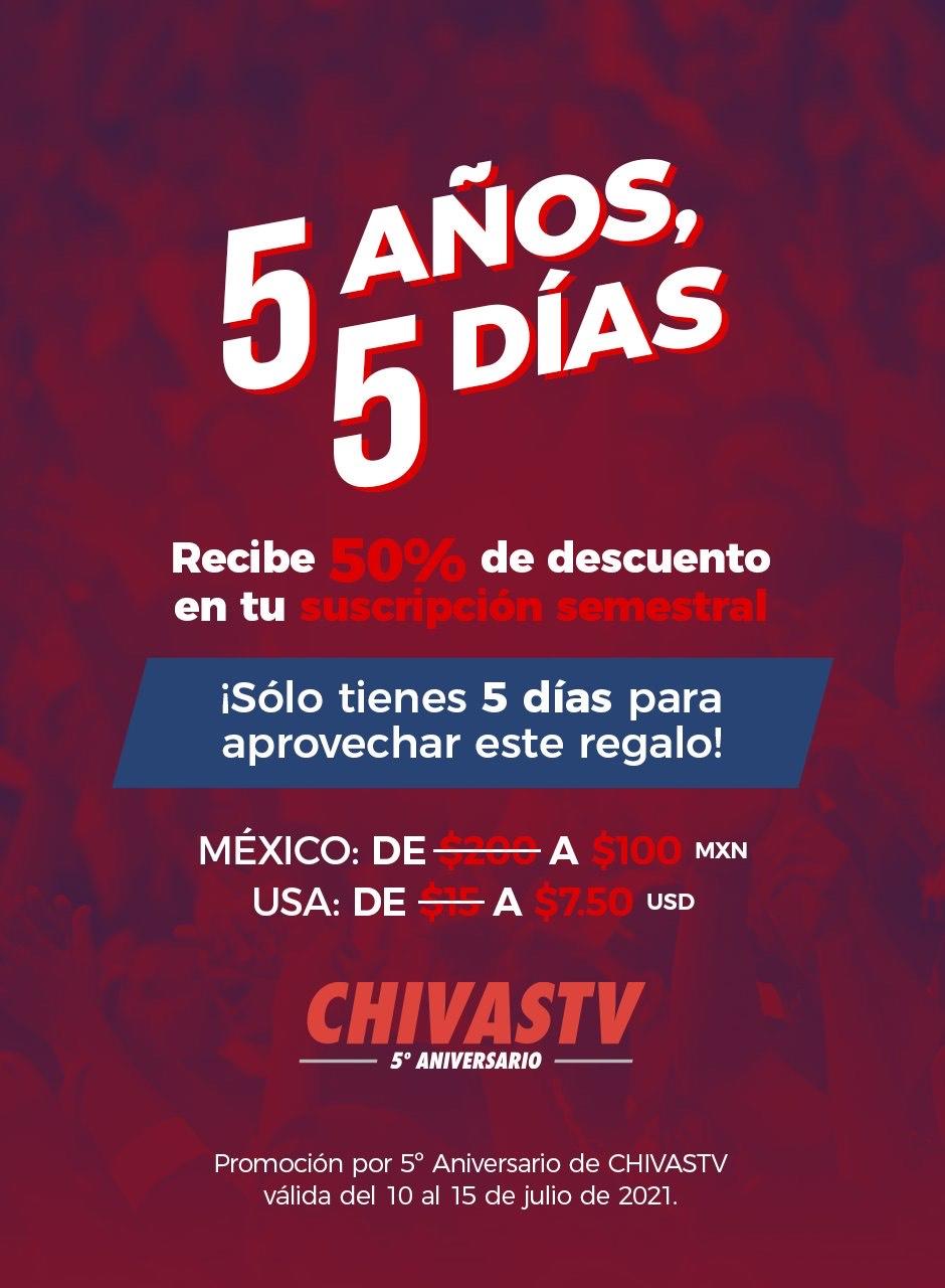 50% descuento Chivas TV (100 pesos por todo el semestre)