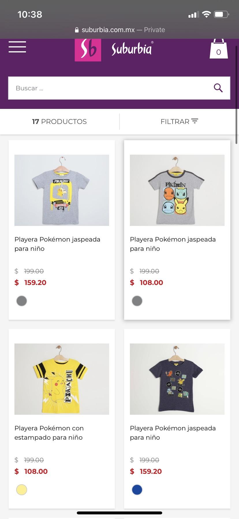 Suburbia Playeras pokemon desde 76 pesos envio gratis con un mínimo de compra de 699