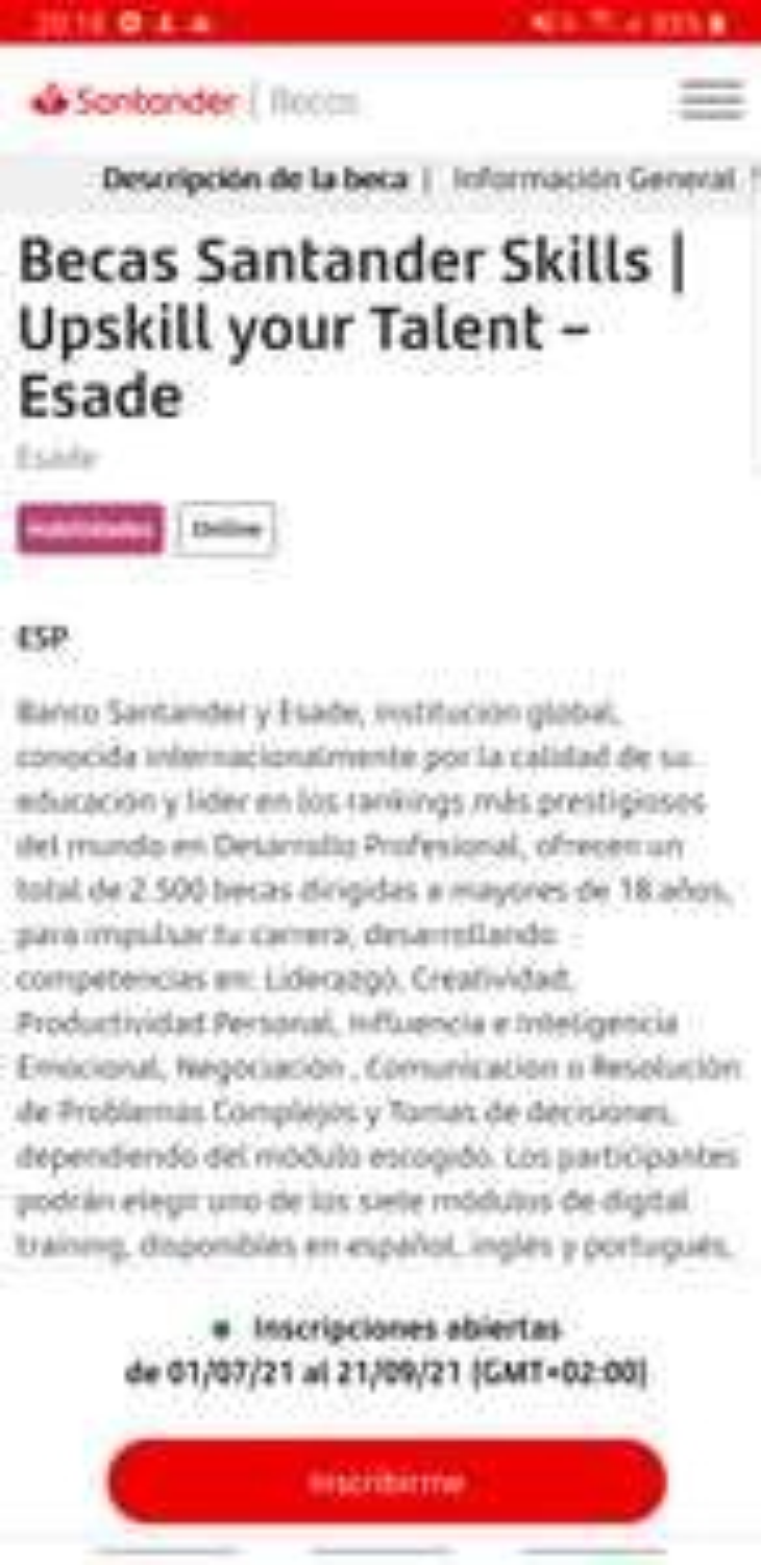 Beca Santander disponible