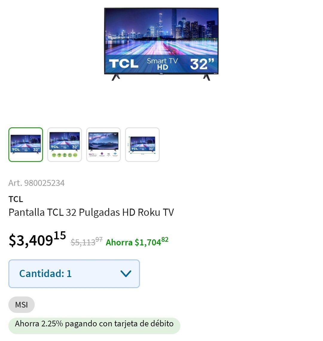 Sam's Club: Pantalla TCL 32 Pulgadas HD Roku TV