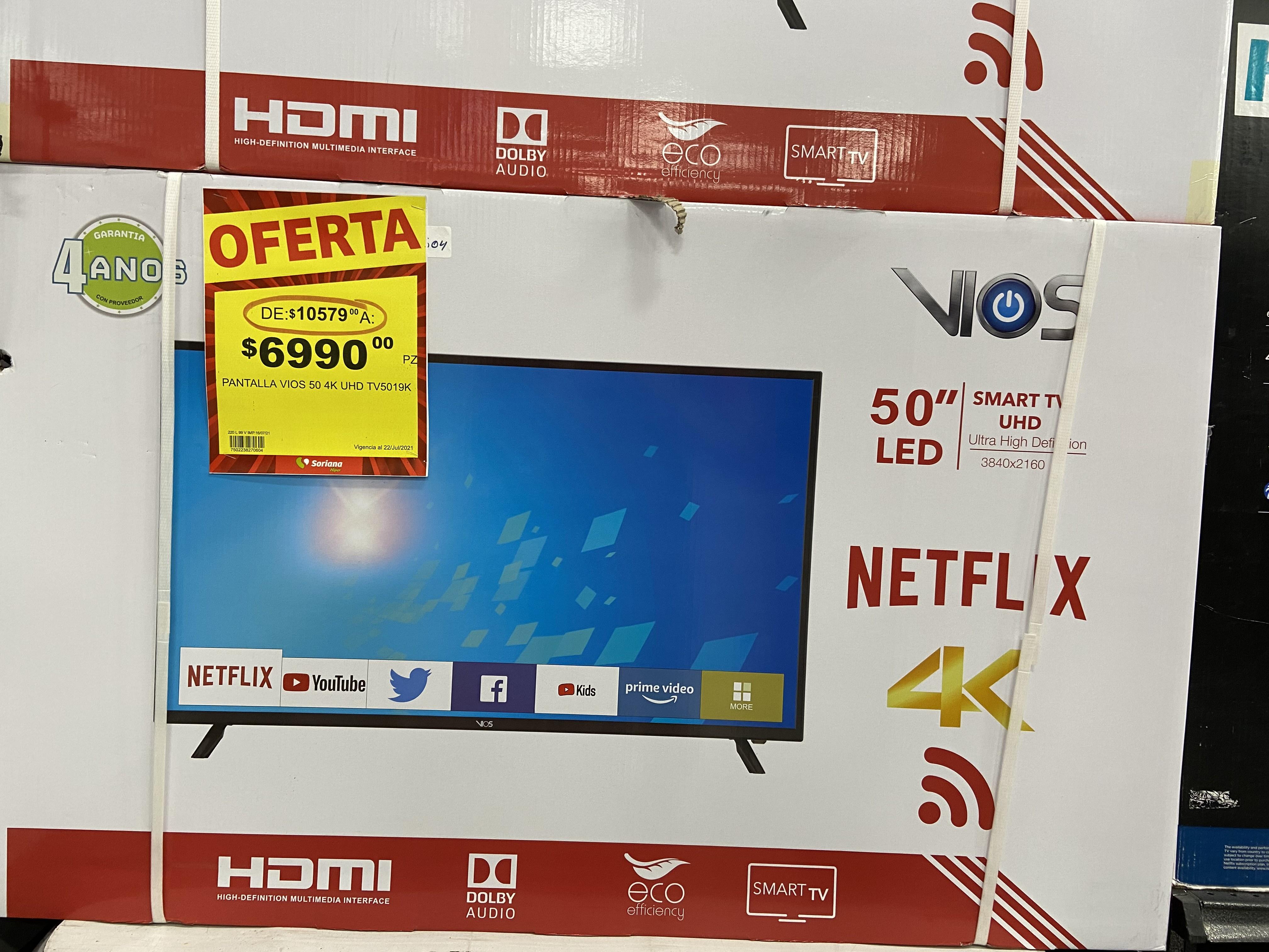 Soriana Pantalla VIOS 4K smart TVs