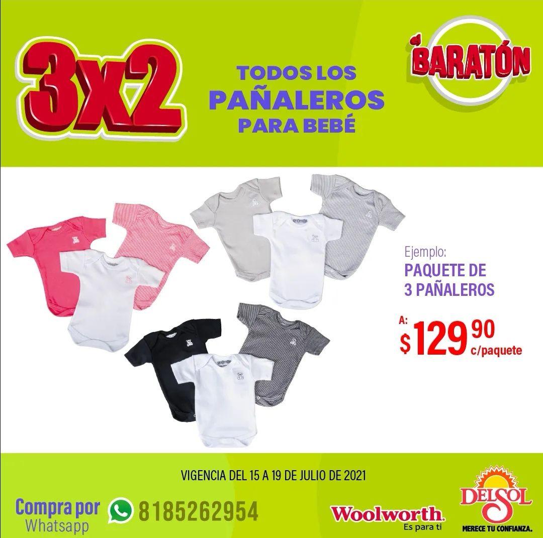 Del Sol y Woolworth: 3 x 2 en todos los pañaleros para bebé