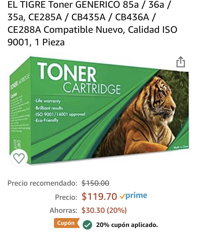 Amazon: Toner GENERICO 85a / 36a / 35a, CE285A / CB435A / CB436A / CE288A Compatible Nuevo, Calidad ISO 9001