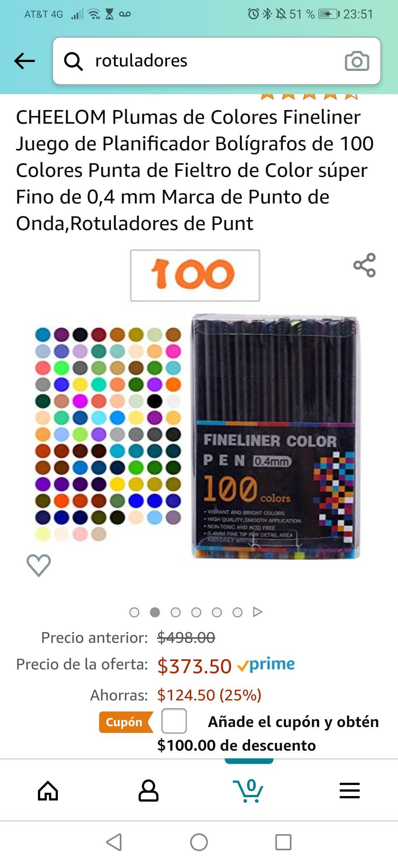 Amazon: 100 rotuladores por $273.50