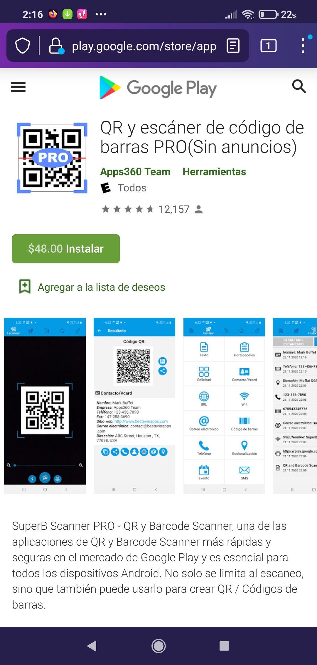 Google Play: Escáner y Generador de código de Barra