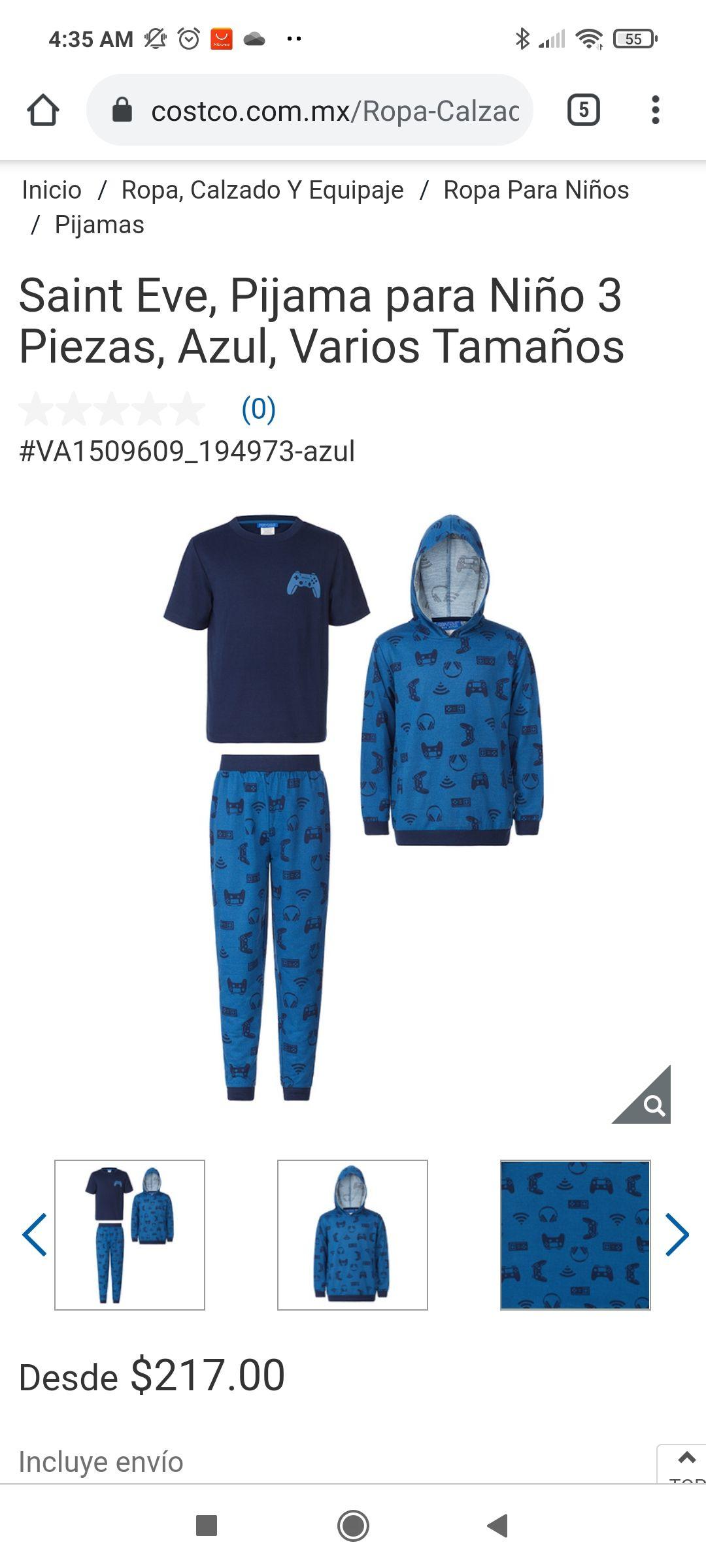 Costco: Pijama 3 piezas talla extrachica