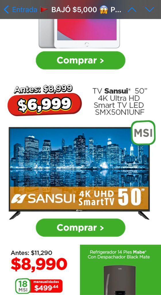 Bodega Aurrerá: TV Sansui 50 Pulgadas 4K Ultra HD Smart TV