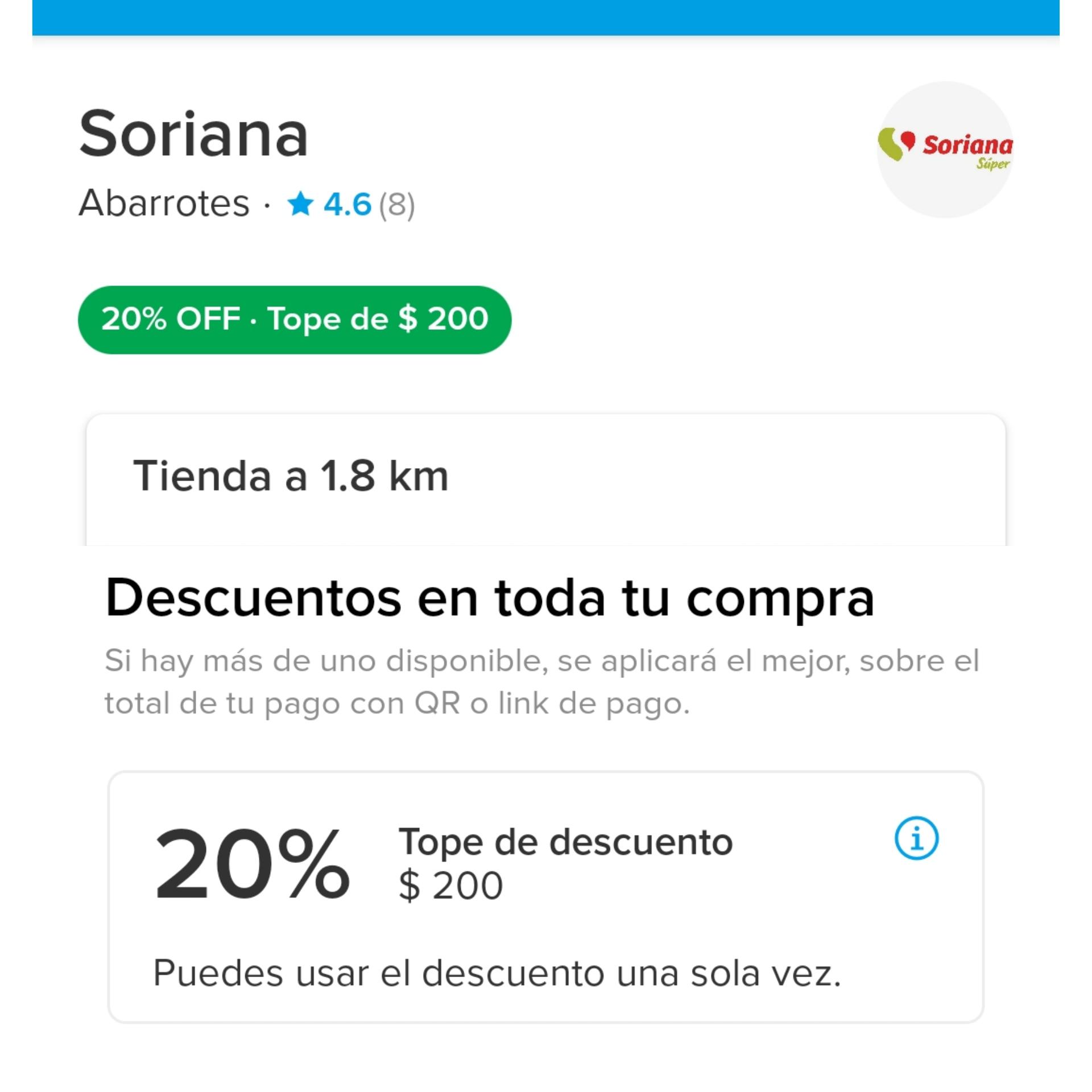Mercado Pago: Descuento de 20% con tope de $400 pagando con QR en Soriana