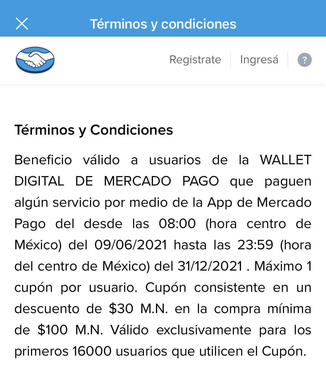 Mercado Pago: $30 de descuento en pago de servicios (usuarios seleccionados)