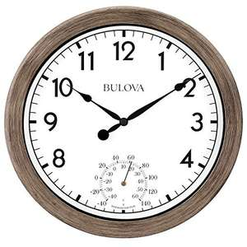Amazon Bulova Patio Time Reloj de Pared para Interiores y Exteriores