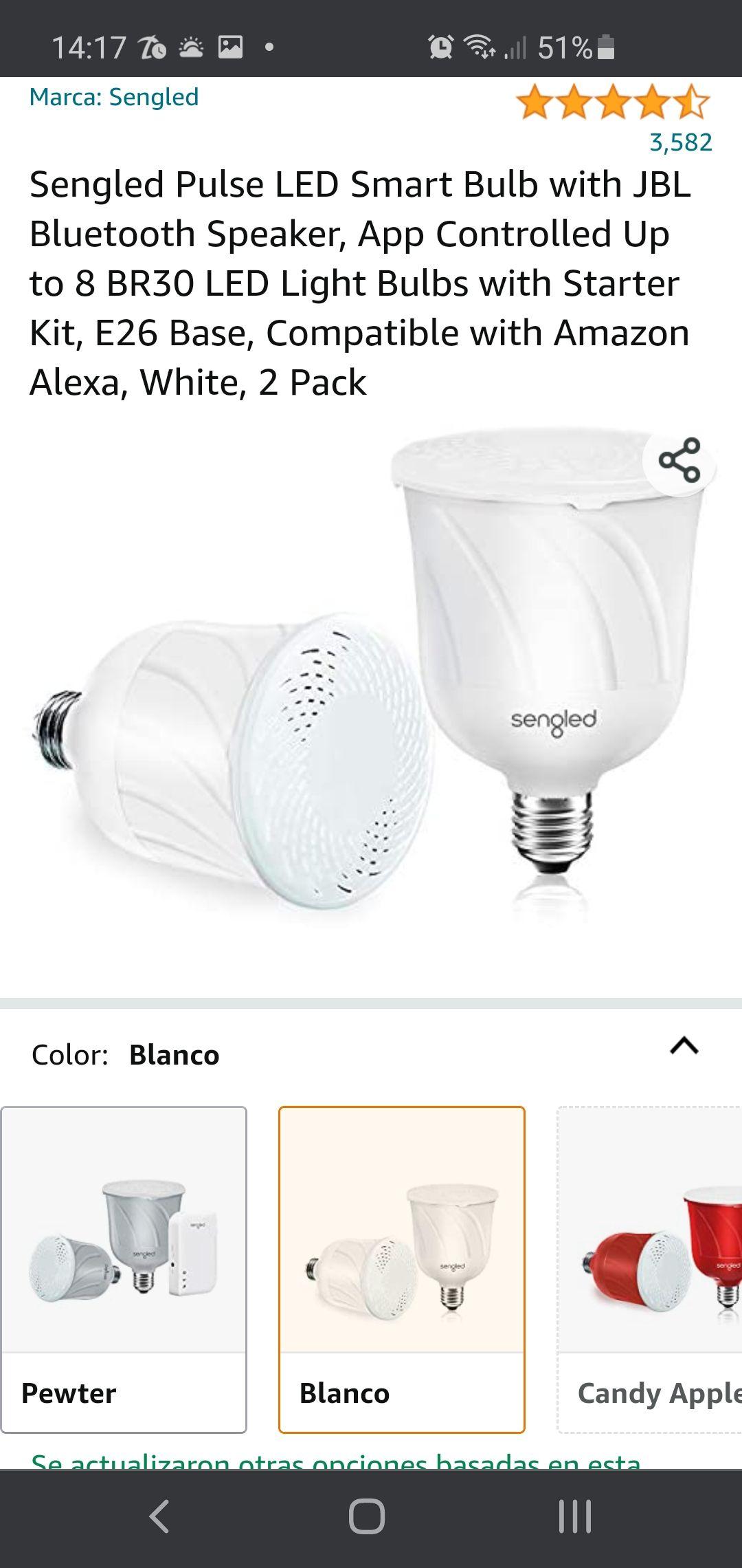 Amazon: Par de Focos Smart led Sengled con salida de sonido JBL y conexion bluetooth compatibles con alexa